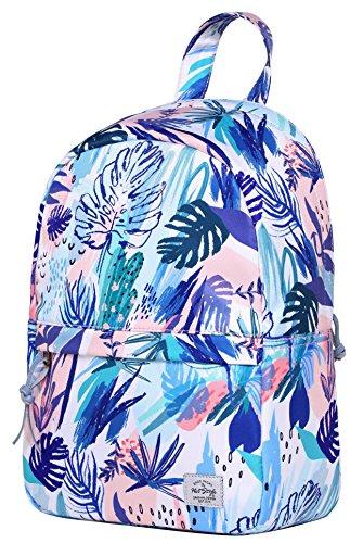OLETHA Mochila Bolsos Mujer Pequeños | A4 formato | 34x23x11cm | Plata D212M, Rosa tropical
