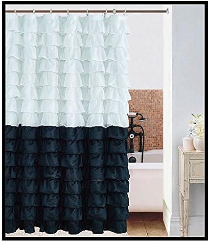 Waterfall 1 2 WHITE BLACK Ruffled Shower Curtain