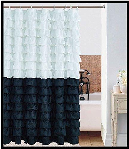 AUTHENTIC Waterfall Ruffled Fabric Shower Curtain White