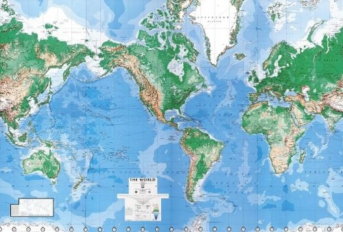 Environmental Graphics Giant World Map Wall Mural - Dry Erase Surface