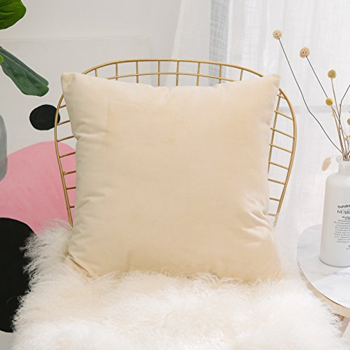 HOME BRILLIANT Solid Color Soft Velvet Rustic Throw Pillows Cushion Cover Decorative with Zipper for Kids Room, 45 x 45cm, Taupe ()