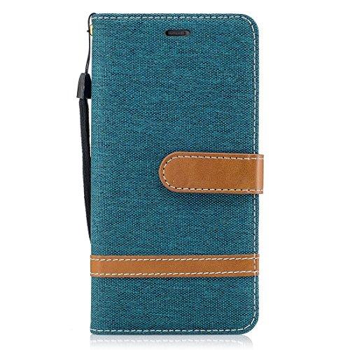Para Huawei P10 Denim Texture Funda de cuero con soporte y ranuras para tarjetas & Wallet & Lanyard DuoShengZhTG ( Size : Mlc3047g )