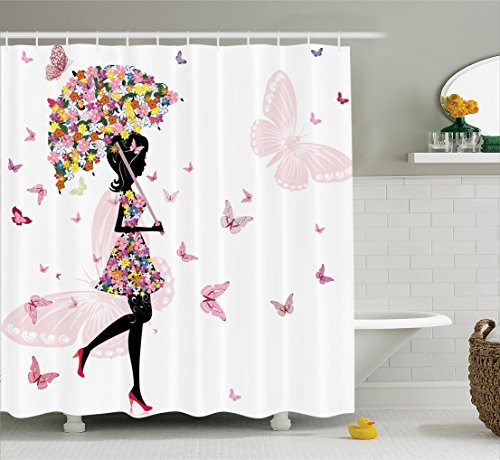 - Ambesonne Girly Decor Shower Curtain Set, Girl With Floral Umbrella And Dress Walking With Butterflies Inspirational Artsy Print, Bathroom Accessories, 69W X 70L Inches, Pink Black