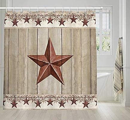Western Texas Star Bath Curtains Rustic Barn Star on Wooden Door Shower Curtain