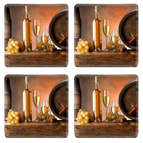 Glass Food Bottles Grapes Wine Barrels Square Coaster (4 Piece) Set Fabric Rubber 5 1/8 Inch (130mm) Size Coaster Cup Mug Can Water Bottle Drink Coasters Stain Resistance Collector Kit Kitchen Table Top Desk