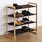Housen Solutions 4 Tier Shoe Rack 12 Pairs Wooden Shoe Shelf Stand Organizer with Non-Woven Fabric, Brown