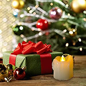 Homemory 400+ Hours 6 Pack Flameless LED Votive Candles with Timer, Battery Operated and Remote Control, Flickering Tea Lights 1.5×1.7 inches -Christmas, Thanksgiving