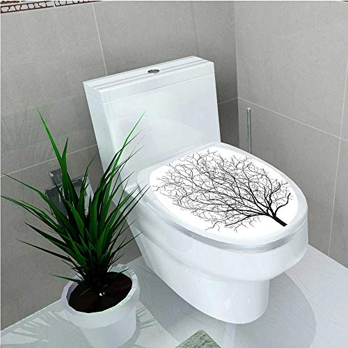 Toilet Seat Wall Stickers Paper an Old Withered Oak Crown Without Leafs Tree Branches Illustration Black and White W14 x L16