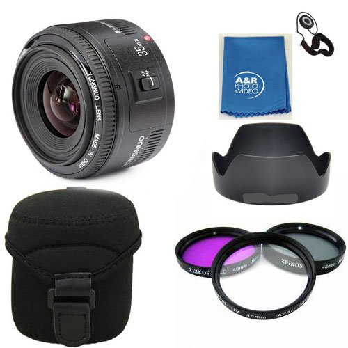 Yongnuo EF 35mm F2 C Wide Angle Fixed Prime Auto Focus Lens Canon YN35mm PRO KIT With Filters , case , hood by Yongnuo
