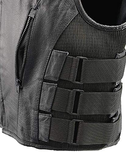 M Law Enforcement Style Protective Armor with Side Adjustment Tactical Outlaw Black Biker Vests for Men The Nekid Cow Mens Premium Black Leather Motorcycle Swat Team Vest with Interior Armor