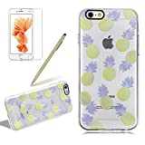 Ultra Thin Rubber Case Cover For Iphone 6 6S PLUS, Girlyard Creative Design Yellow Pineapple Purple Leaves Soft Silicone TPU Case Cover Ultra Clear Cool Summer Fruit Anti-Fingerprint Protective Case Cover