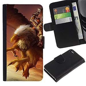For Apple iPhone 4 / iPhone 4S,S-type® Eagle Pc Game Mystery Gamer Giant Bird - Dibujo PU billetera de cuero Funda Case Caso de la piel de la bolsa protectora