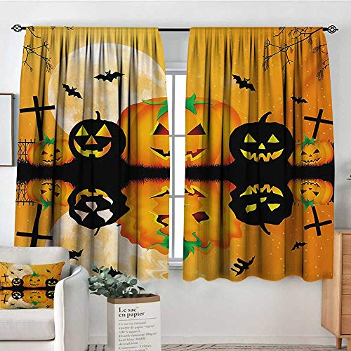 Halloween Thermal Insulating Blackout Curtain Spooky Carved Halloween Jack o Lantern and Full Moon with Bats and Grave Lake Kid Blackout Curtains 55