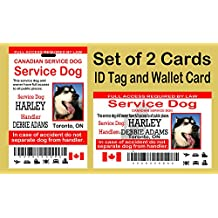Service Dog ID Tag ID Card and Wallet Card Set, 2 ID Tags