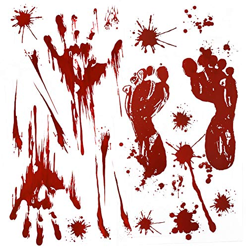 80pcs Bloody Window Clings, Handprint Footprint Bloodstain Floor Clings Halloween Bloody Decoration Vampire Decals Bloody Stickers for Haunted House Zombie Party Decorations