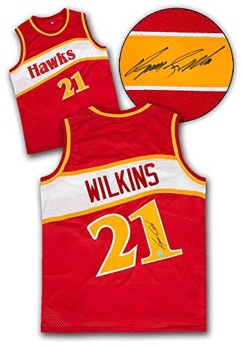 AJ Sports World Dominique Wilkins Atlanta Hawks Autographed Custom Basketball Jersey ()