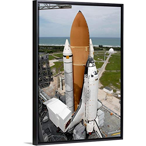 Space Shuttle Atlantis Sits on The top of Launch Pad 39A at Kennedy Space Center Black ()