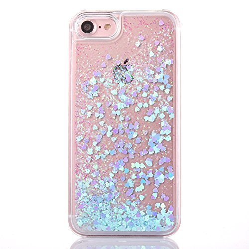 iPhone 6s plus case,iphone 6 plus case, liujie Liquid Cool Quicksand Moving Stars Bling Glitter Floating Dynamic Flowing Case Liquid Cover for Iphone 6s plus 5.5inch (green heart)