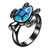Yoursfs Turtle Animal Opal Rings Women's Blue Lab Created Opal Black Gold Plated Engagement Gift