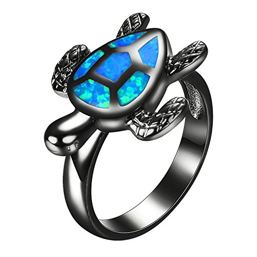 Yoursfs Turtle Blue Fire Opal Animal Rings For Women Vintage Black Gold Filled Cocktail (Brilliant Black Fire Opal Ring)