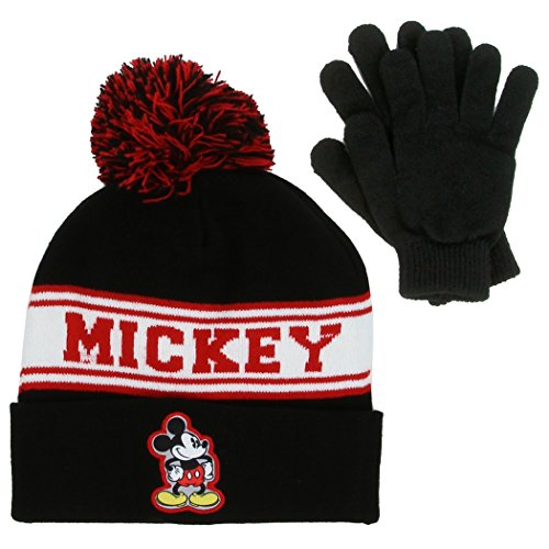 Mickey Mouse Boys Winter Hat & Gloves Set. Black/Red. Sizes 4+