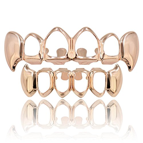- JINAO 18K Gold & Silver Plated Hip Hop Gold Teeth Grills Caps 4 Four Open Hollow Vampire Fangs Teeth Grillz Set (Rose Gold Set)