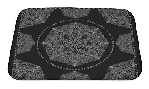 Gear New No Slip Microfiber Memory Foam Black Bandana Print Bath Rug Mat, 24
