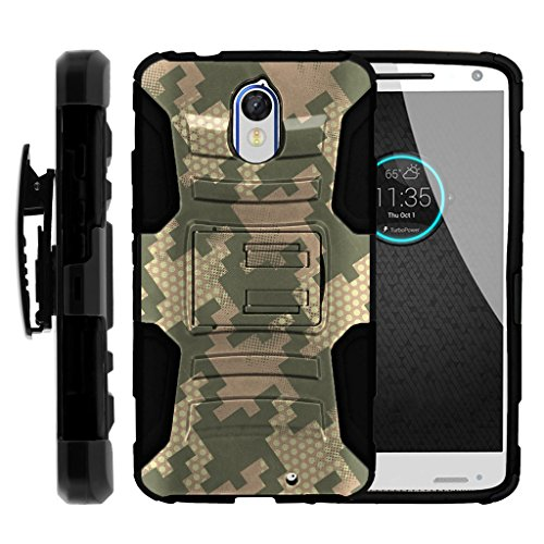 TurtleArmor | Motorola Droid Turbo 2 Case | Moto X Force | Kinzie [Hyper Shock] Rugged Combo Holster Clip Hybrid Camo Case Silicone Kickstand Feature - Pixel Camouflage by TurtleArmor