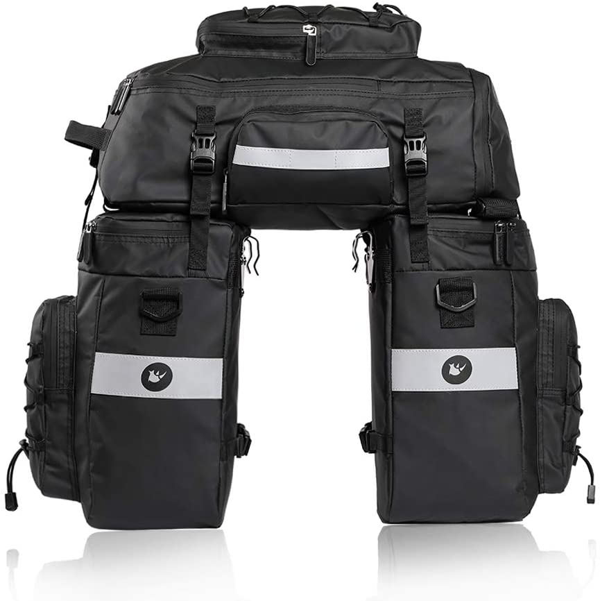 Rhinowalk 3 in 1 Multifunction Bike Pannier Bag 70L Bicycle Rack Trunks Rear Seat Carrier Pack with Rain Cover