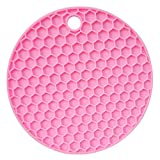 Rendodon♚ Colorful placemats, Coasters Fashion Silicone Heat Insulation Coffee Tea Leaves Cup Multifunctional Silicone Honeycomb Pad Silicone Foldable Non-Slip Placemat Bar Mat (Pink)