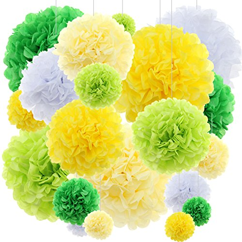 20 ct Tissue Paper Flowers Party Decor - Yellow -