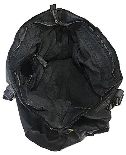 Damen Flecht Tasche Maia Paul.hide Leder Tasche Vintage Leder Gewaschen Used-Look Tasche Handgemacht Made Italy Schultertasche Umhängetasche Handtaschen Schwarz 44x30x12cm (B x H x T)
