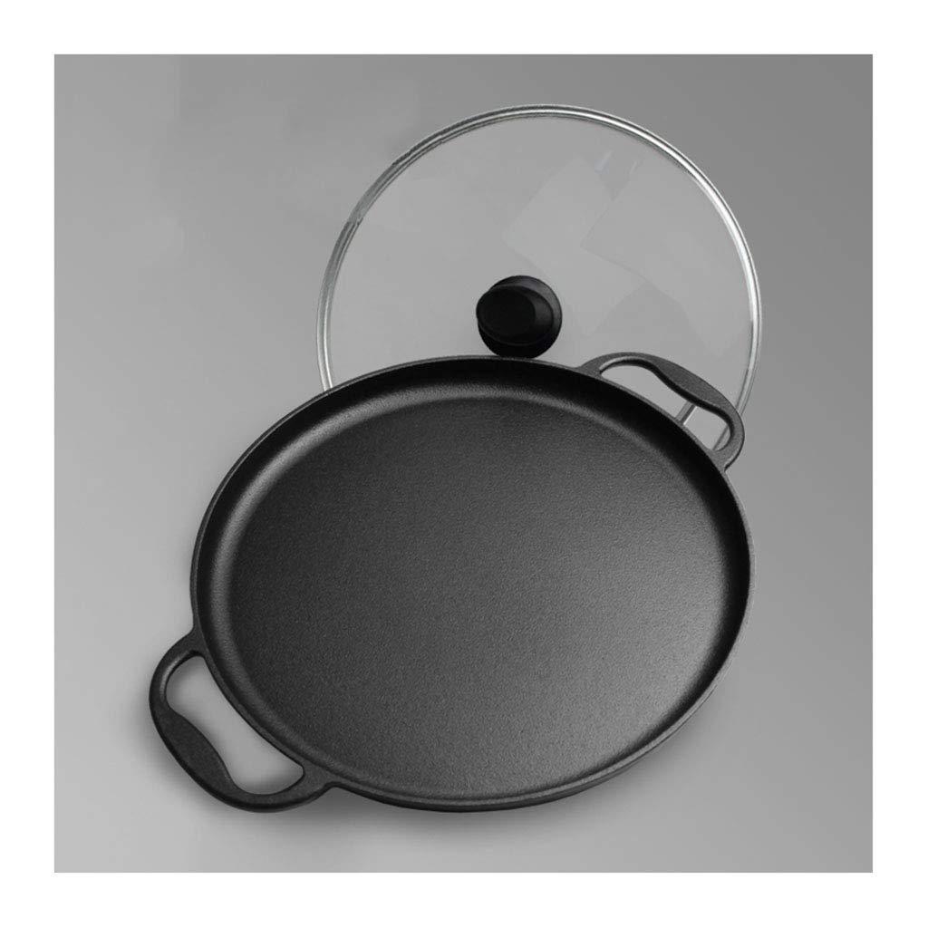 フライパン ガラス蓋付き アクセサリー 鋳鉄 35cm 調理器具 ピザパンケーキ ガス誘導&電気ホブシートパン用   B07MT3VM3V