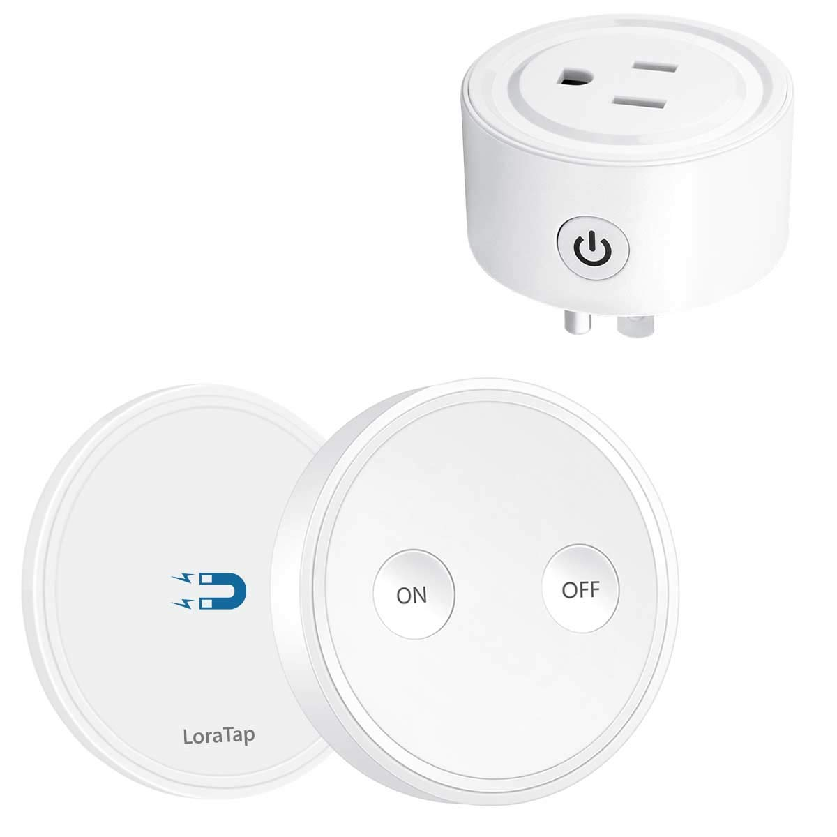 LoraTap Mini Remote Control Outlet Plug Adapter with Remote, 656ft Range Wireless Light Switch for Household Appliances, No Hub Required, 10A/1100W, White, 5 Years Warranty