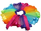 Image of Girls Layered Rainbow Tutu Skirt Ruffle Tiered Ballet Dance Party Dress RT01 (L)
