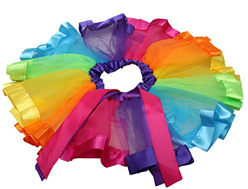 Girls Layered Rainbow Tutu Skirt Ruffle Tiered Ballet Dance Party Dress RT01 (L) Image