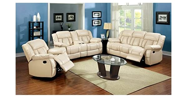 Amazon.com: 2 pc Barbado collection ivory bonded leather ...
