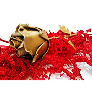 """♥ Eternal Rose Hand-Forged Wrought Iron Golden""""Ideal gift for Valentine's Day, Girlfriend, Mother's Day, Couple, Birthday, Christmas, Wedding, Anniversary, Decor, Indoor"""" 5"""