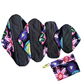 Mama/Girl/Maiden/Antibacterial Bamboo Charcoal fiber/ Menstrual Pads/ Reusable/ Panty Liners - 4pcs pack(Large, WSD5)