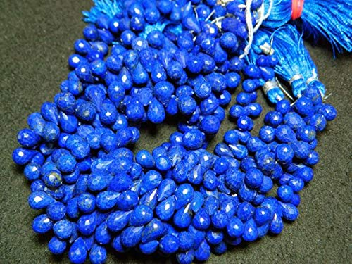 Super Quality Gemstone Beautiful Jewelry Lapis Lazuli Briolette Beads, Tear Drop Beads, Faceted Briolettes, 7X10mm Beads, 10 Inch Strand Code-JP-3645   B07KNR2V26