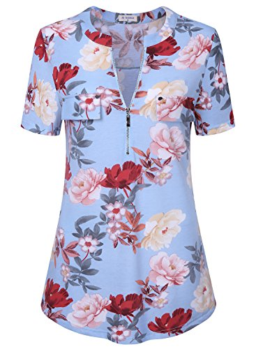 Bulotus Women's Casual Short Sleev Zip up Work Tops Casual Wear V Neck Blouse Floral Blue L