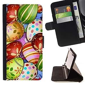 For Samsung Galaxy Core Prime / SM-G360 Case , Huevo Happy Kids Drawing- la tarjeta de Crédito Slots PU Funda de cuero Monedero caso cubierta de piel