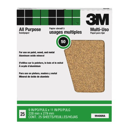 3M Pro-Pak 99406NA Aluminum Oxide Sheets for Paint and Rust Removal, 9-Inch by 11-Inch, 50-Grit by 3M (Image #1)