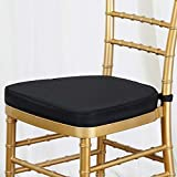 Tableclothsfactory 100PCS Black Chiavari Chair Cushion for Wood Resin Chiavari Chairs Party Event Decoration - 2'' Thick