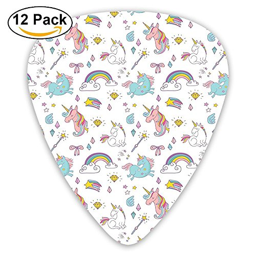 Newfood Ss Magic Unicorn Forms With Colorful Fantasy Cloud And Rainbow Pattern Guitar Picks 12/Pack Set]()