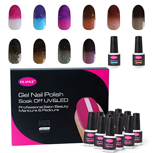CLAVUZ Gel Nail Polish Set Soak Off Color Changing UV Gel Nail Manicure with Top and Base Coat Nail Art New Starter Kit 12pcs