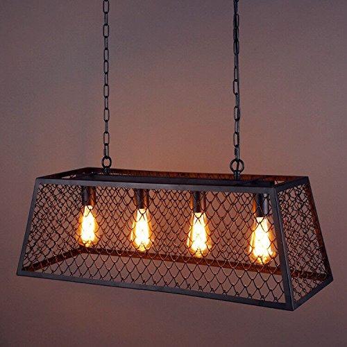 YanCui@ Vintage wrought iron glass dining room living room loft Café rectangular chandelier (Rectangular Lantern Chandelier)