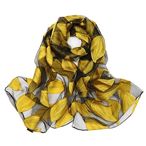 Special Beauty Nice women's long shawl autumn and winter echarpe organza lady elegant hijab wraps yellow leaves ()