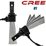 Turbo SII H1 CREE Led Headlight Bulb 40W 5000Lm 6500K Headlight Conversion Kit With Flexible Tinned Copper Braid Halogen HID Replace