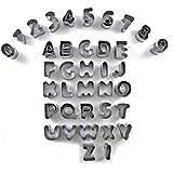 eDealMax 37 Letras Números del alfabeto Juego de moldes de decoración de tortas Pastel de mazapán